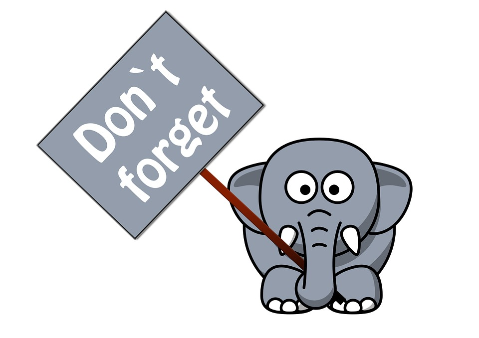 "Elephant holding a sign that reads, ""Don't forget""!"