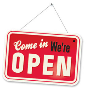 """Sign that reads, """"Come in, We're OPEN."""""""