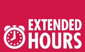 "A small clock and the words ""Extended Hours"""