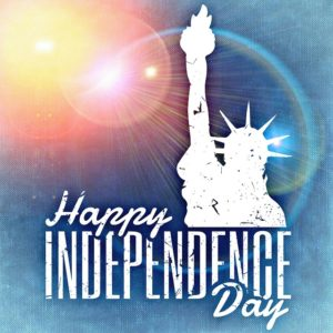 Happy Independence Day with Statue of Liberty