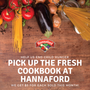 Vegetables and a reminder to pick up a cookbook at Hannaford.