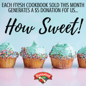 Picture of cupcakes and a reminder to purchase Hannaford fresh Cookbooks