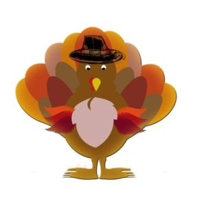 Cartoon turkey wearing a black pilgrim hat