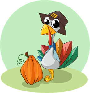 A cartoon turkey and a pumpkin.