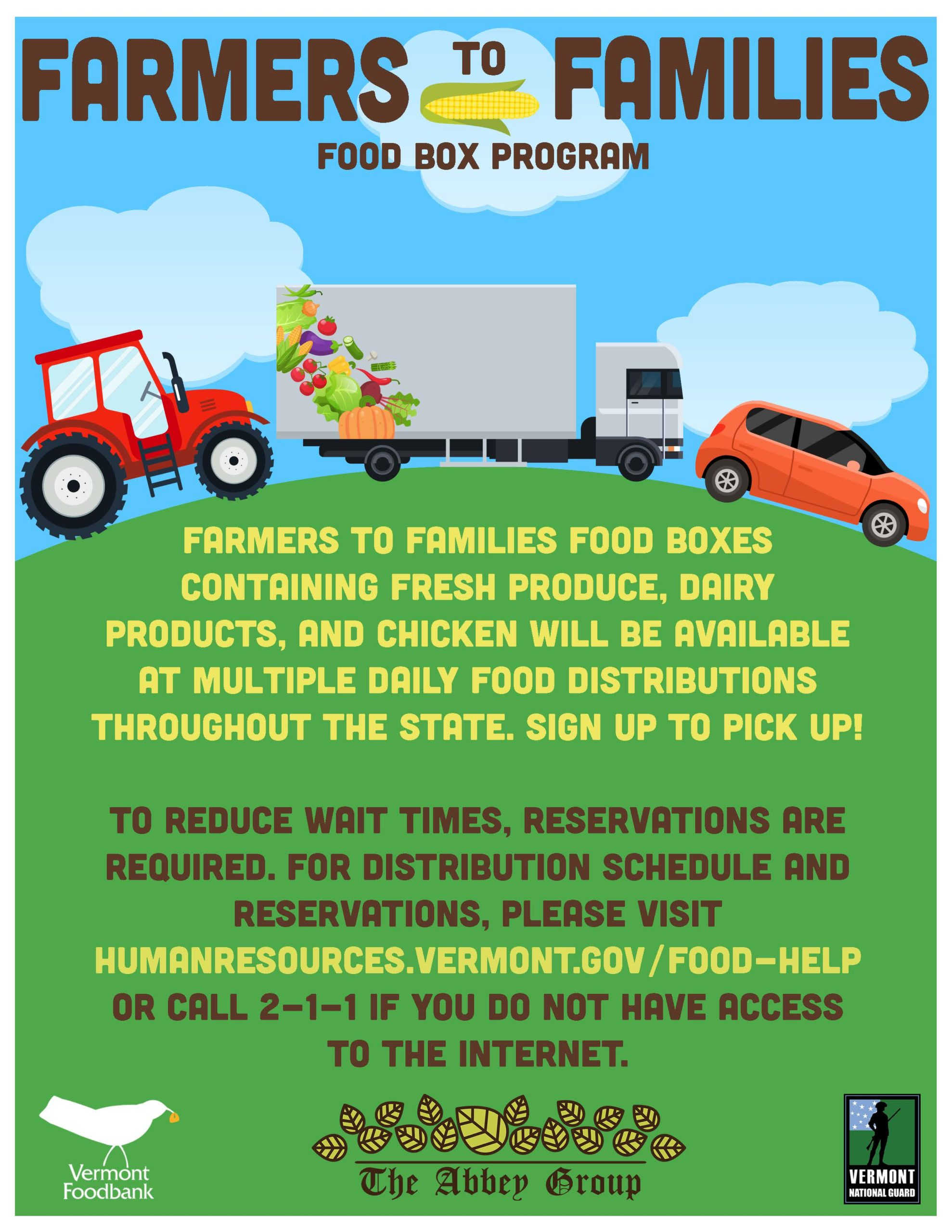 Information about the upcoming Farmers to Families distributions. Please call 2-1-1 for information.